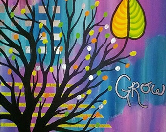 "Abstract Tree Painting - Grow - Large Acrylic Art Silhouette Painting with Leaf on Purple and Blue Gallery Wrapped Canvas 1 1/2"" Deep"