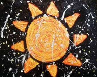 "Sun Textured Tactile Painting Large 20"" x 24"" Original Acrylic on Wood Board 1 1/2"" Deep Orange and Deep Indigo with Silver Splatter"