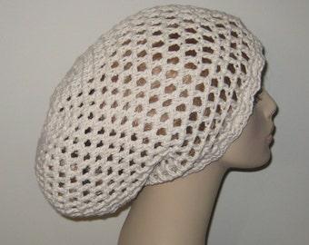 Cotton Off White Open Stitch Slouchy Beanie Dread Crochet Hat