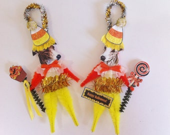 Greyhound HALLOWEEN candy corn vintage style CHENILLE ORNAMENTS set of 2