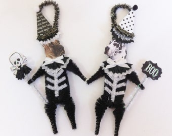 Great Dane SKELETON Halloween vintage style CHENILLE ORNAMENTS set of 2