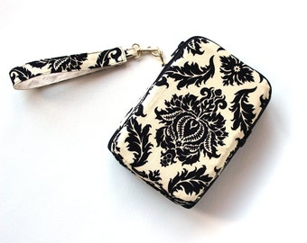 clearance Sale Tablet Clutch Damask  Zip Around Wristlet Wallet Ready to Ship