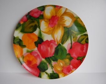 Vintage Fiberglass Serving Tray with Flowers
