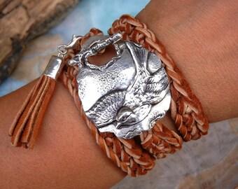Bird Jewelry, Bird Leather Wrap Bracelet, Bird Silver Leather Wrap Bracelet, Bird Bracelet, Bird Silver Wrap Bracelet, Swallow Bird Jewelry