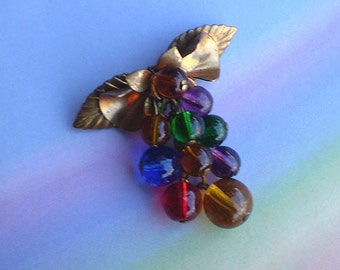 Vintage 30s Brass Leaf Glass Bead Drops Pin