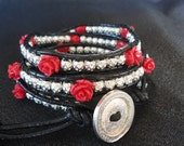 Wrap Bracelet in Roses and Silver