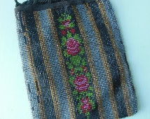 Vintage 1920s Floral Glass Beaded Drawstring Purse