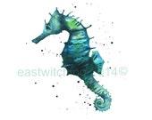 SEAHORSE Pictures, Watercolor SEAHORSE print