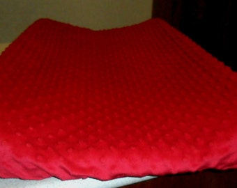 Red Minky Dot Changing Pad Cover CHOICE OF COLOR
