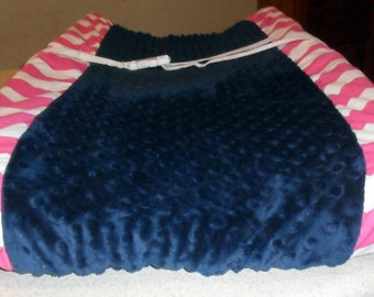 Hot Pink Chevron and Navy Minky Dot Changing Pad Cover