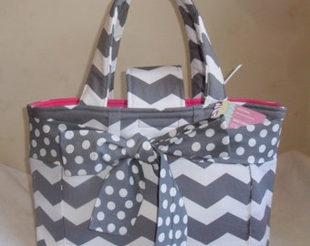 Large Gray Chevron with Polka Dot Bow and Hot Pink Interior Diaper Bag Tote CHOICE OF INTERIOR