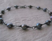 Peacock Pearl Bracelet- Oxidized Sterling Silver, Wire Wrapped, Rustic, Freshwater Pearls
