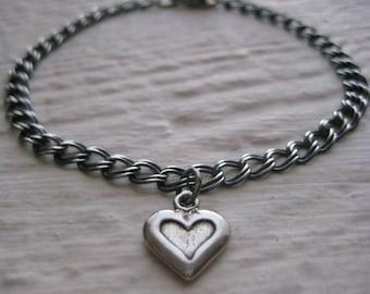 Heart/Cross Bracelet - Oxidized Sterling Silver, Charm, Rustic, Link Chain