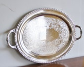 Vintage silver plated oval serving tray