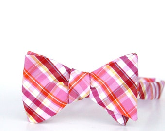 bubblegum plaid freestyle bow tie