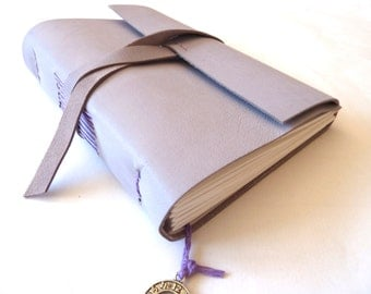 Personalised Leather Journal, Light Purple