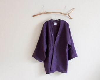 heavy linen haori jacket hand embroidery flowers made to order