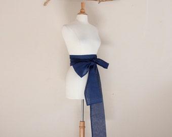 eco chic navy sheer cotton obi MADE TO ORDER / wedding obi / blue sheer obi / obi sash / blue / light weight obi /