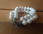 Brides bridesmaids gifts White  Pearl Bracelet  with Swarovski  Crystal Clasp