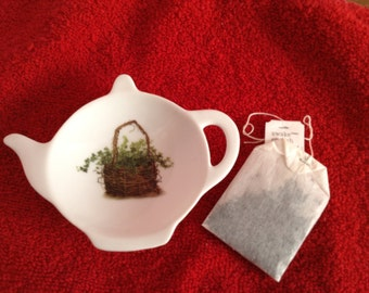 """Ceramic Teabag Holder  Ivy Basket 4.5"""""""