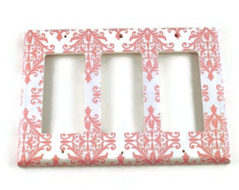 Triple Rocker Cover Wall Decor  Switchplate   Light Switch Plate in Pink Damask   (152TR)