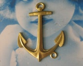 Raw Brass Large Anchor Pendant  Straight or Bent for Bracelets 1013RAW x1