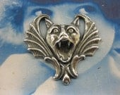 Sterling Silver Ox Plate Screaming Gothic Bat Stamping  2134SOX x2