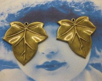 Brass Ox Plated Leaf Charms 51BOX x2