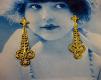 Raw Brass Art Nouveau Filigree Dangles 2222RAW x2