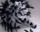 MIDNIGHT KISS Feather And Organza Wedding Bouquet