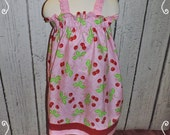 Girls Sun Dress in Pink Cherry Print