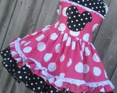 Custom Boutique Minnie Hot Pink Dot Dress Mouse Cruise Disney Mickey 2 3 4 5 6 7 8