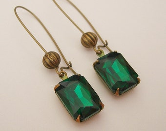 Vintage Emerald  Faceted Crystal in Antiqued Brass Prong Setting Earrings.