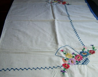 Vintage Hand Embroidered Floral Baskets Tablecloth 36 by 36 Inch