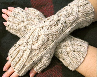 Tweed Cables | Cable Knit Fingerless Gloves in Oatmeal Tweed Peruvian Wool - Womens Mittens - Arm Warmers - Ready to Ship