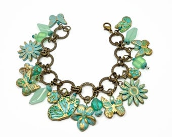 Butterfly Garden Bracelet- Charm Bracelet- polymer clay jewelry- Summer bracelet- Gifts for Her