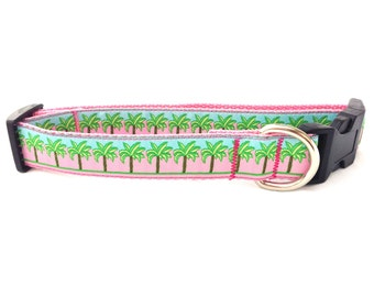 """Large """"The Pink Palm"""" Couture Dog Collar"""