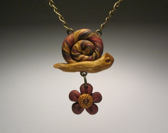 Snail Necklace - Flower Necklace - Whimsical Woodland