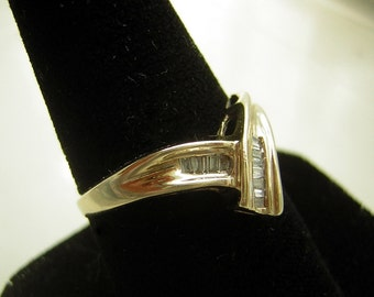Diamond Ring Baguette Cut Channel Set Accent Cocktail or Anniversary Vintage 10k Yellow Gold - Ladies Size 6.5