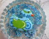 Swimming Duck In a Blue Pond Resin Cabochon