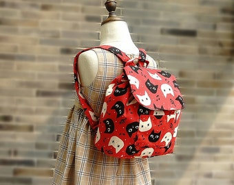 Japanese Kids Backpack Bag Handmade by Japanese Kokka Fabric Free Shipping