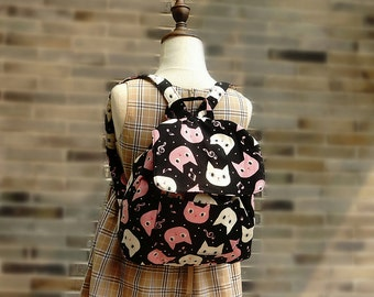 Free Shipping Japanese Backpack Handmade by Japanese Kokka Fabric for Kids