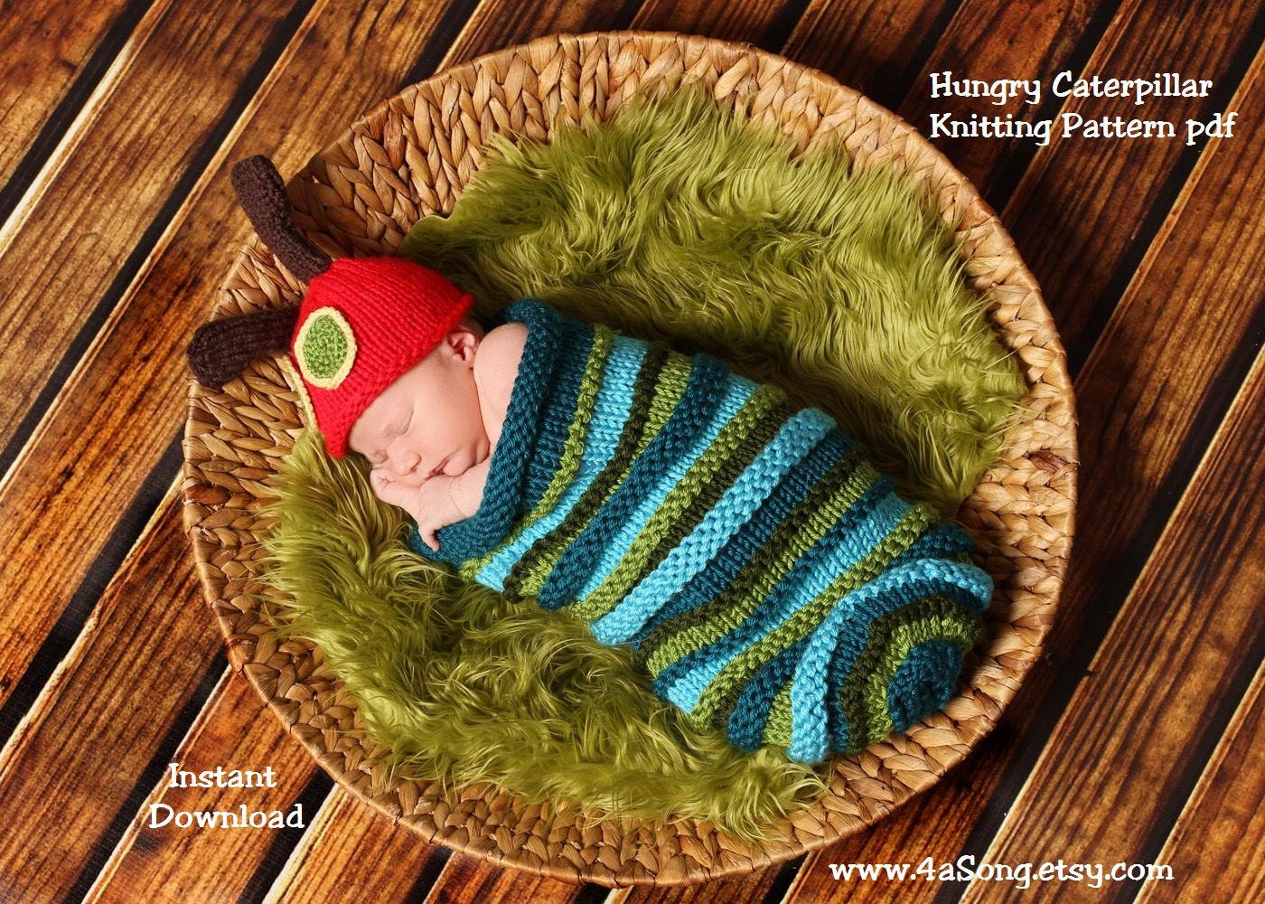Caterpillar Baby Cocoon and Hat Knitting Pattern in Plain