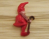 Vintage Hard Plastic Hand Painted Flat-Backed Red Elf or Gnome with Cane - Package of 5
