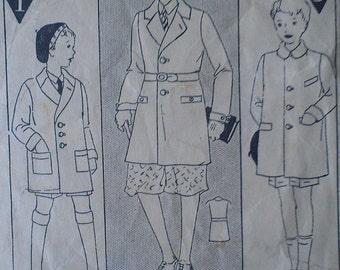 Vintage  20s Boys Toddler Doll Reefer Coat Sewing Pattern 708 Size 1