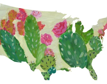 Cactus And  Roses America United States Map Art Print ~