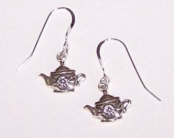 Sterling Silver TEA POT Earrings - Tea Lover, Beverage