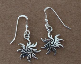 Earrings - Sterling Silver SPIRAL STAR -