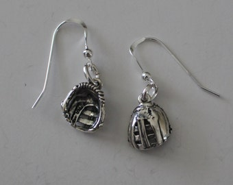 Sterling Silver 3D BASEBALL GLOVE Earrings - Sports
