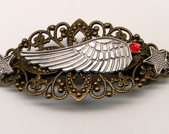 Steampunk hair barrette. Steampunk jewelry. Steampunk angel wing barrette.